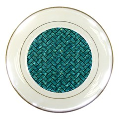 Brick2 Black Marble & Blue Green Water (r) Porcelain Plate by trendistuff