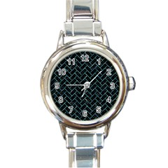 Brick2 Black Marble & Blue Green Water Round Italian Charm Watch by trendistuff
