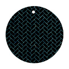 Brick2 Black Marble & Blue Green Water Round Ornament (two Sides) by trendistuff