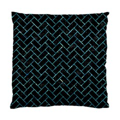 Brick2 Black Marble & Blue Green Water Standard Cushion Case (one Side) by trendistuff