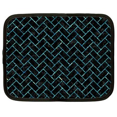 Brick2 Black Marble & Blue Green Water Netbook Case (xl) by trendistuff