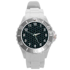 Brick2 Black Marble & Blue Green Water Round Plastic Sport Watch (l) by trendistuff