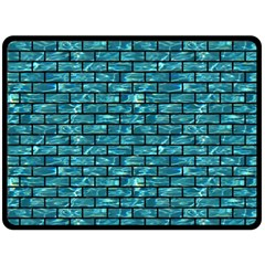 Brick1 Black Marble & Blue Green Water (r) Fleece Blanket (large) by trendistuff