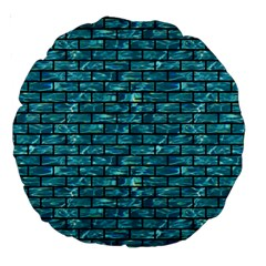 Brick1 Black Marble & Blue Green Water (r) Large 18  Premium Round Cushion  by trendistuff