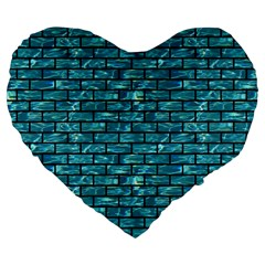 Brick1 Black Marble & Blue Green Water (r) Large 19  Premium Flano Heart Shape Cushion by trendistuff