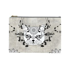 Wonderful Sugar Cat Skull Cosmetic Bag (large)  by FantasyWorld7