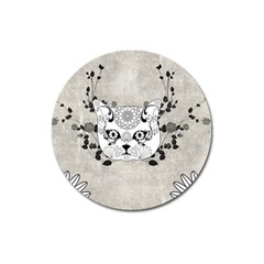 Wonderful Sugar Cat Skull Magnet 3  (round) by FantasyWorld7