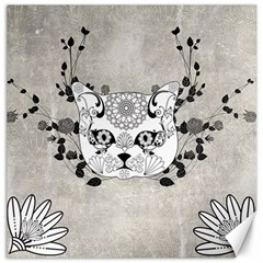 Wonderful Sugar Cat Skull Canvas 12  X 12   by FantasyWorld7