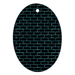 Brick1 Black Marble & Blue Green Water Oval Ornament (two Sides) by trendistuff