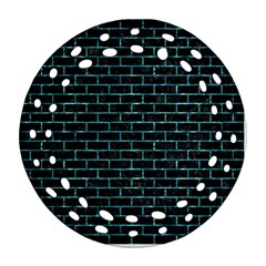 Brick1 Black Marble & Blue Green Water Ornament (round Filigree)