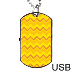 Zigzag (orange And Yellow) Dog Tag Usb Flash (one Side) by berwies