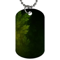 Beautiful Fractal Pines In The Misty Spring Night Dog Tag (two Sides) by jayaprime