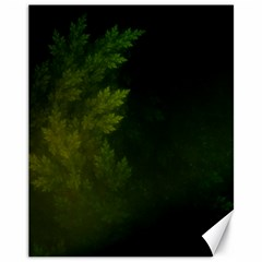Beautiful Fractal Pines In The Misty Spring Night Canvas 11  X 14   by jayaprime