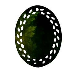 Beautiful Fractal Pines In The Misty Spring Night Ornament (oval Filigree) by jayaprime
