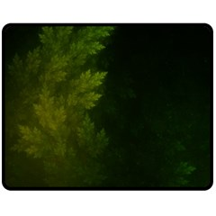 Beautiful Fractal Pines In The Misty Spring Night Double Sided Fleece Blanket (medium)  by jayaprime