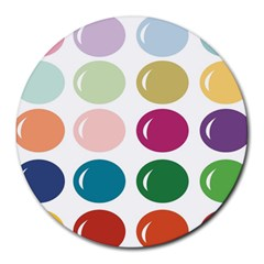 Brights Pastels Bubble Balloon Color Rainbow Round Mousepads by Mariart