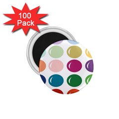 Brights Pastels Bubble Balloon Color Rainbow 1 75  Magnets (100 Pack)  by Mariart