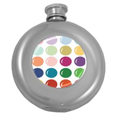 Brights Pastels Bubble Balloon Color Rainbow Round Hip Flask (5 Oz)
