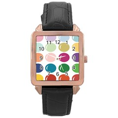 Brights Pastels Bubble Balloon Color Rainbow Rose Gold Leather Watch  by Mariart