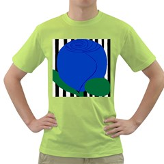 Blue Flower Leaf Black White Striped Rose Green T Shirt by Mariart