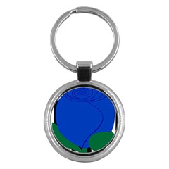 Blue Flower Leaf Black White Striped Rose Key Chains (round)  by Mariart