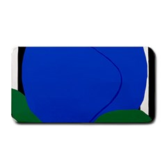 Blue Flower Leaf Black White Striped Rose Medium Bar Mats