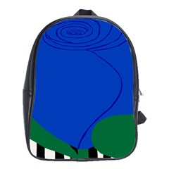 Blue Flower Leaf Black White Striped Rose School Bags(large)