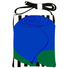 Blue Flower Leaf Black White Striped Rose Shoulder Sling Bags by Mariart