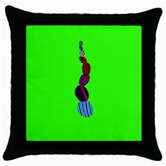 Egg Line Rainbow Green Throw Pillow Case (black) by Mariart