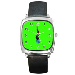 Egg Line Rainbow Green Square Metal Watch by Mariart