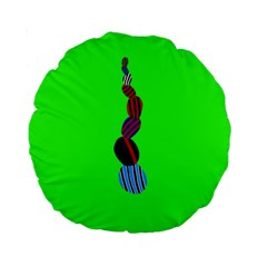 Egg Line Rainbow Green Standard 15  Premium Round Cushions by Mariart
