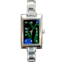 Flower Green Blue Polka Dots Rectangle Italian Charm Watch by Mariart