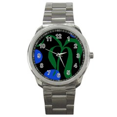 Flower Green Blue Polka Dots Sport Metal Watch by Mariart