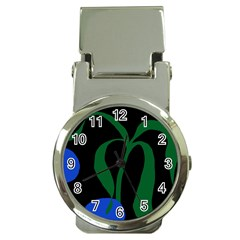 Flower Green Blue Polka Dots Money Clip Watches by Mariart