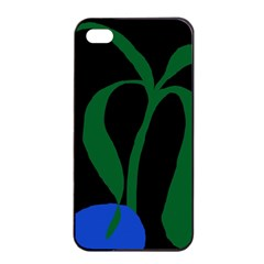 Flower Green Blue Polka Dots Apple Iphone 4/4s Seamless Case (black) by Mariart