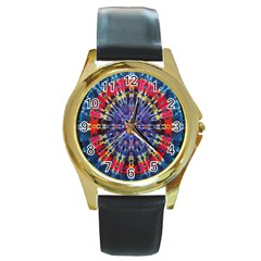 Circle Purple Green Tie Dye Kaleidoscope Opaque Color Round Gold Metal Watch by Mariart