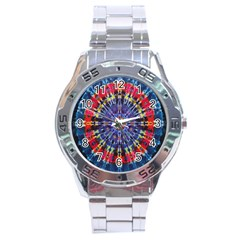 Circle Purple Green Tie Dye Kaleidoscope Opaque Color Stainless Steel Analogue Watch by Mariart
