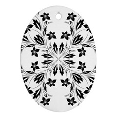 Floral Element Black White Ornament (oval) by Mariart