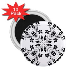 Floral Element Black White 2 25  Magnets (10 Pack)  by Mariart