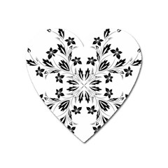 Floral Element Black White Heart Magnet by Mariart