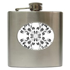 Floral Element Black White Hip Flask (6 Oz) by Mariart