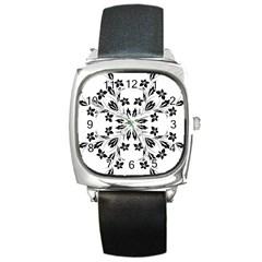 Floral Element Black White Square Metal Watch by Mariart