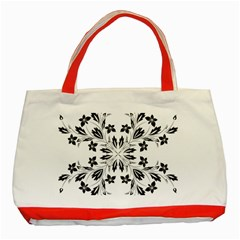 Floral Element Black White Classic Tote Bag (red) by Mariart