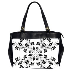 Floral Element Black White Office Handbags (2 Sides)  by Mariart