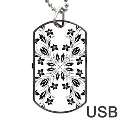 Floral Element Black White Dog Tag Usb Flash (two Sides)