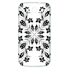 Floral Element Black White Samsung Galaxy S3 S Iii Classic Hardshell Back Case by Mariart