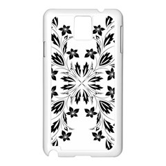 Floral Element Black White Samsung Galaxy Note 3 N9005 Case (white) by Mariart