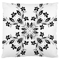 Floral Element Black White Large Flano Cushion Case (one Side) by Mariart