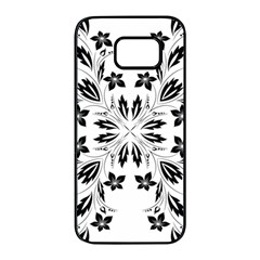 Floral Element Black White Samsung Galaxy S7 Edge Black Seamless Case by Mariart