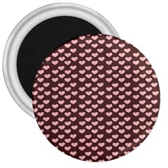 Chocolate Pink Hearts Gift Wrap 3  Magnets